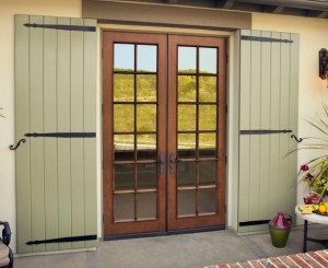 JELD-WEN Fiberglass French Aurora A5012 with Mahogany Woodgrain and Colonial Grilles