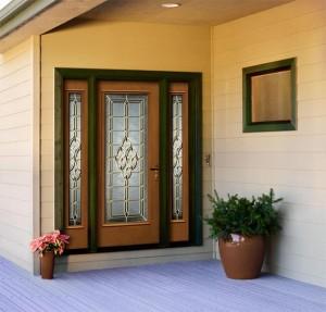 JELD-WEN Exterior Fiberglass Architectural 826 with Oak Woodgrainand Castile Glass