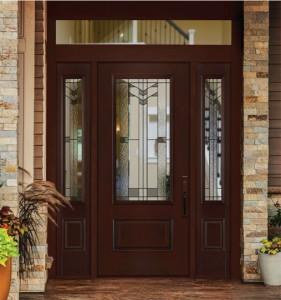Masonite Exterior Fiberglass Belleville Hollister Mahogany Textured Door with Frontier Glass