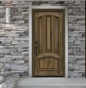 JELD-WEN Exterior Fiberglass Architectural AW-40 4-Panel Bottom Arch with Walnut Woodgrain