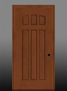 Masonite Exterior Fiberglass Belleville Oak 6-Panel Camber Top Door