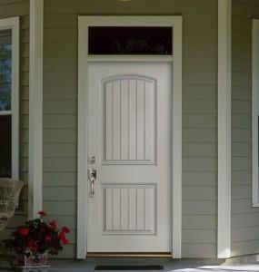 Masonite Exterior Fiberglass Belleville Smooth Cheyenne 2-Panel Plank Camber Top Door