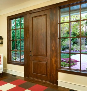 JELD-WEN Exterior Wood Panel 1202 in Knotty Alder with Antigue Wheat Finish