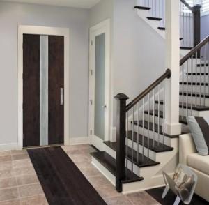 JELD-WEN Exterior Wood Panel Cherry Door with Steel Metallic Inlay
