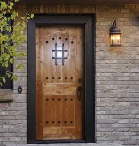 Simpson Exterior Wood Panel 7465 with V-Grooves, Square Clavos & Speaking Port in Knotty Birch