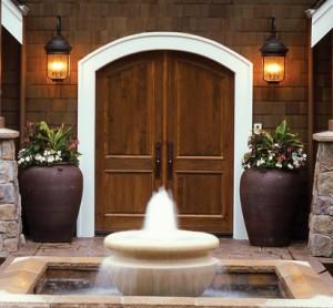 Simpson Exterior Wood Panel Custom Arch Door in Alder