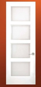 Ecco Interior MDF Door E4000 with Type B Sticking & Acid Etched Glass in Place of Panel