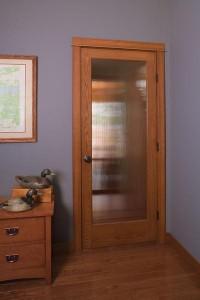 JELD-WEN Interior Authentic Oak Door 1501 with Decorative Glass