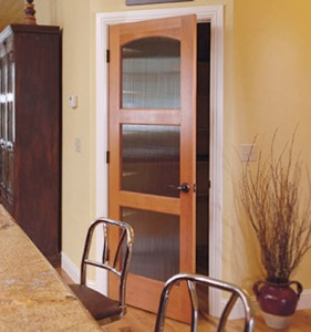 Rogue Valley Interior 3-Panel 30GA in Fir with Arch Top and Reeded Glass