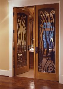 Simpson Wood Interior  1401 with Custom Glass in Alder