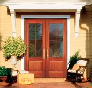 JELD-WEN Exterior Authentic Wood 4-Lite French Door with Panel