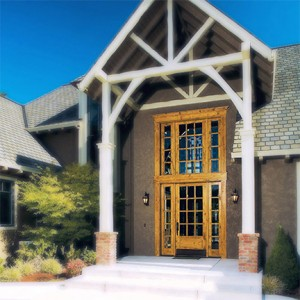 Rogue Valley Exterior French Door 412 in Knotty Alder with Beveled Glass