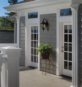 Simpson Exterior French Wood Door 37015 with Custom Transom