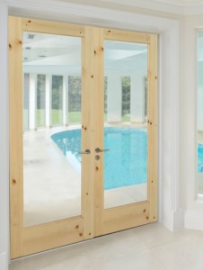 WoodGrain Exterior French 1-Lite Door 620 in Knotty Pine