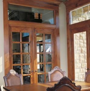 WoodGrain Exterior French 15-Lite Door 627 and 1-Lite Door 620 in Knotty Alder with Transoms