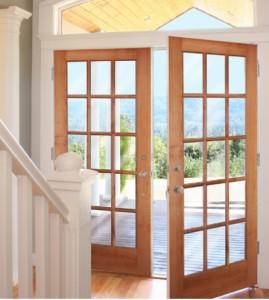 WoodGrain Exterior French 15-Lite Door 627 in Maple