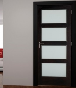WoodGrain Exterior French 4-Lite Door 604 in Poplar with White Laminated Glass