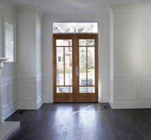 WoodGrain Exterior French 4-Lite Door 634 in Radiata Pine