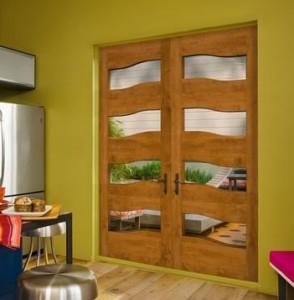 JELD-WEN Exterior Alder Wood Door with Textured Glass Panel
