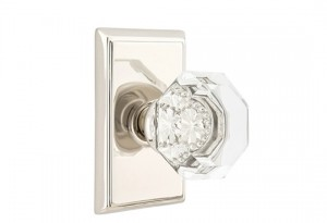 Emtek Interior Old Town Clear Knob with Rectangular Rosette in Polished Nickel Finish