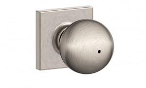 Schlage Interior Orbit Knob with Collins Trim in Satin Nickel