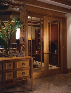 Simpson French Door in Alder with Praire-Style Grilles