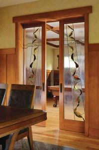 Simpson French Pocket Door in Fir with Custom Glass