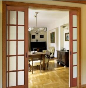 Woodgrain Interior French 15 Lite Pocket Door in Oak 627
