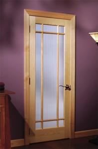 Woodgrain Interior French 9-Lite Prairie Door with Narrow Reed Glass 690